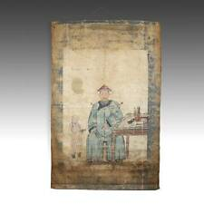 New listing Antique Chinese Ancestor Portrait Scroll Painted Cloth Pigment China 19Th C.