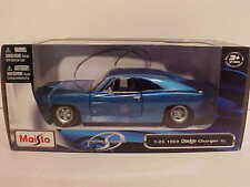 1969 Dodge Charger R/T Coupe Die-cast Car 1:25 Maisto 8 inch Blue Similar 1/24
