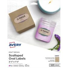 Avery Labels Oval Scallop 21up 2 14x1 18 525pk Brown 22855