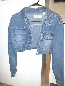 Amethyst Cropped Denim Jacket Distressed Dark Blue Size Large Full Button Front