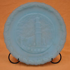 Fenton Glass Christmas in America #6 1975 Birthplace of Liberty Blue Satin Plate