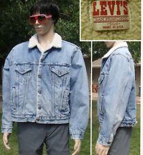 vtg 70's LEVIS shearling fleece lined blue jean jacket denim trucker 50 mens XXL