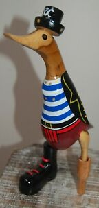 25 cm Pirate Duck Made From Bamboo and Hand Carved And Painted In Bali.