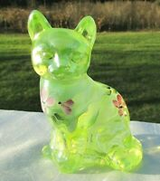 "Fenton Vintage Topaz Vaseline Opalescent Hand Painted Sitting Cat 4""H  MINT**"
