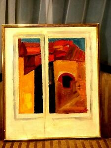 "VINTAG ORIGINAL OIL ON CANVAS ABSTRACT HUGE PAINTING WINDOW SIGNED ""MOTI"" FRAMED"