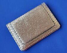 NEIMAN MARCUS BiFold MIRROR CARD CASE Metallic REPTILE LEATHER Mini Wallet