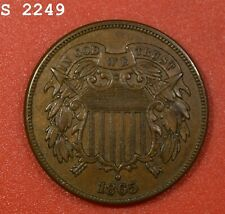 """1865 Two-Cent Piece """"AU++"""" *Free S/H After 1st Item*"""