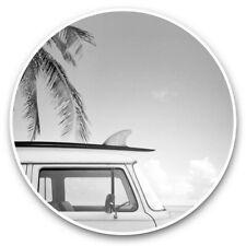 2 x Vinyl Stickers 25cm (bw) - Pink Surf Bus Van Surfer Fun  #38140
