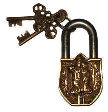 An Unusual attractive BRASS Made YOGA OM RADHA KRISHNA PADLOCK 2 keys from India