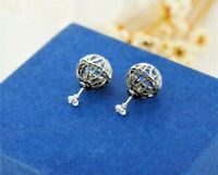 New 18K White GOLD Filled Filigree 12mm Ball Crystal Stud Earrings Womens Gift