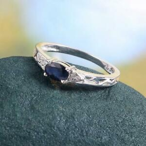 925 Silver Blue Sapphire Stacking Ring 4x6 mm Oval 0.6 Ct sapphire Promise ring