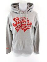 SUPERDRY Womens Hoodie Jumper S Small Grey Red Cotton & Polyester