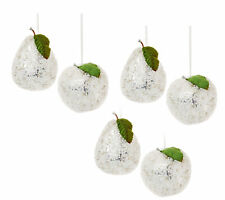 6 x Silver Beaded apples & pears Christmas tree Baubles Decoration Vintage Style