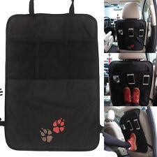Car Seat Kick Mat Back Cover+Mesh Pocket Storage Organizer Animal Paw Pattern
