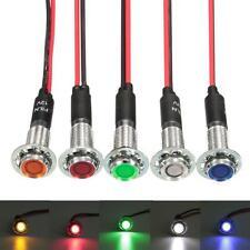 5 x 8mm 12V LED Pilot Dash Panel Indicator Light Lamp Blue Green Amber Red White
