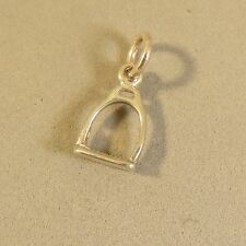 .925 Sterling Silver 3-D STIRRUP CHARM NEW Horse Equestrian Tack 925 HS22