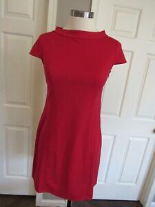 NWT Ann Taylor Loft Women's Red Cap Sleeve Stretch Knit Dress Size 2P $79