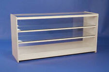 WHITE  GLASS DISPLAY COUNTER 1800MM RETAIL SHOP FITTINGS SHOWCASE NEW.