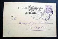 GERMANY POSTAL STATIONERY K WURT POST