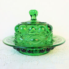 Vintage Emerald Green Eyewinker Glass Round Butter/Cheese Dish w/Lid/Collectible