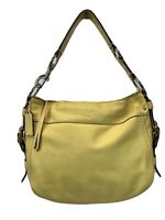 Coach Beige Leather Shoulder Tote Bag Purse F12671 Women's Yellow