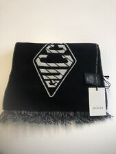 New! With tags Men's  GUCCI Scarf 70%Wool 30% Cashmere Black/ Ivory  27x190 cm