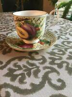 Royal Nobilta Fine Bone China Footed Tea Cup & Saucer Fruit Pattern - England