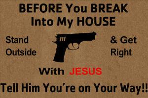 Gun Before You Break Into My House Indoor Welcome Mat Funny Front Door Mat Rug