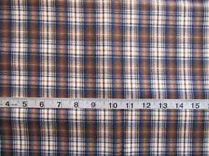 """35"""" x 44"""" Med/Heavy Weight Cotton Fabric Plaid Brown/Blue/White by Cranston"""