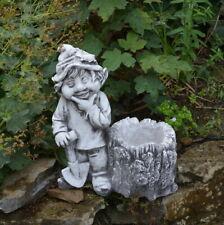 """Massive Steinfigur Gnom """"Ich mag den Wald"""" Troll Wichtel aus Steinguss frostfest"""