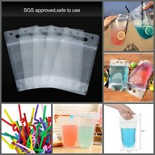 50 Pack Plastic Reclosable Zipper Drinking Pouches Hand Held Bags 5.1 by 9.1Inch