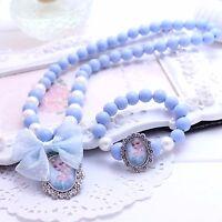 Girl Kids Children Blue Frozen Bead Elsa Anna Dress Necklace Bracelet Set Gift