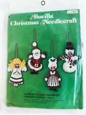 1970s Vintage Bucilla Felt Holiday Ornaments Christmas Foursome 2339 Jeweled Kit