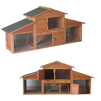 LARGE RABBIT HUTCH WITH RUN PET BUNNY DOUBLE HOUSE HOME  FERRET AND GUINEA PIG
