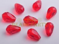 10pcs 15X10mm Teardrop Faceted Crystal Glass Loose Spacer Beads Red