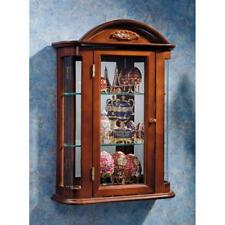 """Antique Brown Display Case Country Rosedale 22.5"""" Hardwood Wall Curio Cabinet"""