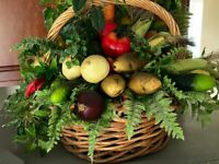 Large Vegetable Cornucopia Faux Greenery Plant Woven Style Basket Artificial