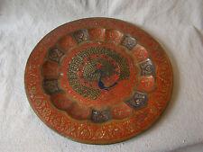 Vintage India Brass Metal Enamel Peacock Tray Wall Decor 71605