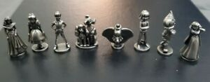2001 Monopoly Disney Edition All 8 Replacement Metal Pewter Tokens Parts Pieces