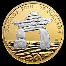 NEW 2016 $10 Fine Silver Coins Iconic Canada Inukshuk complete in its own box