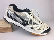 Mizuno Womens White Black Silver Wave Rally 5 Volleyball Shoes Sz 11 US 42.5 EUR