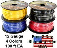 12 Gauge Ga 4 Color Copper Clad CCA 12V Automotive Trailer Hook Up Primary Wire