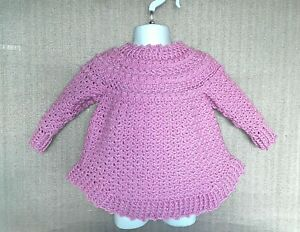 Handmade Crochet Child's Sweater with Curved hem - Age 3 To 4 Years