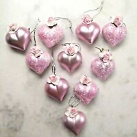 10  Shabby Chic PINK Glitter HEART ORNAMENTS Roses VALENTINE Decor Feather Tree
