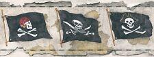 Big Boys Pirate / Pirates Skull & Crossbones Greyish Taupe Wall Border BT2810B