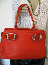 COLE HAAN VILLAGE RED PEBBLED LEATHER AND SUEDE SATCHEL ,HANDBAG