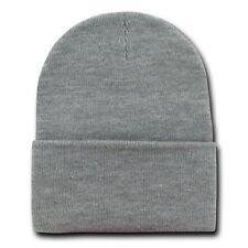 Heather Grey 12 Inch Cuffed Long Knit Beanie Ski Cap Caps Hat Hats