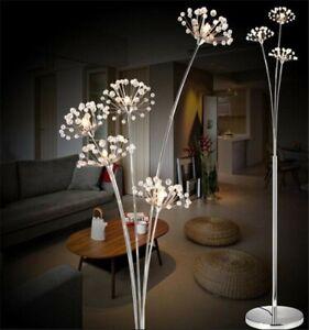 Bedroom Crystal Modern Dandelion LED Living Room Floor Lamp Chrome Landing Light