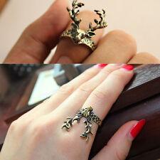 Vintage Bronze Little Cute Deer Finger Ring Retro Style Animal Knuckle Rings