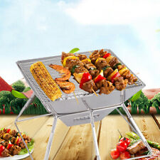 Portable Stainless Steel BBQ Barbecue Grill Charcoal Outdoor Garden Folding